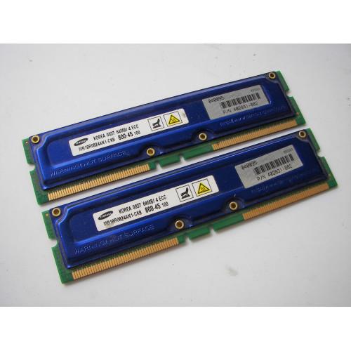 Samsung MR18R0824AN1-CK8 64MB 4 ECC RDRAM Memory Module Pair