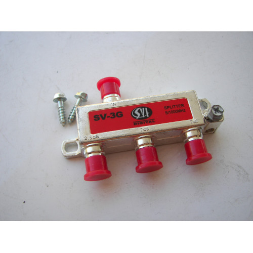 SVI Digital 3 Way Coaxial Cable Satellite Splitter SV-3G 5-1000MHz