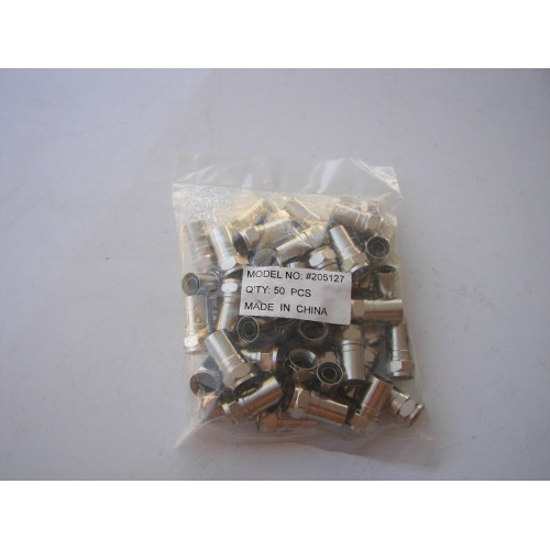 RG6 Type F Smooth Connectors 205127 - Compression Type 50 PCS
