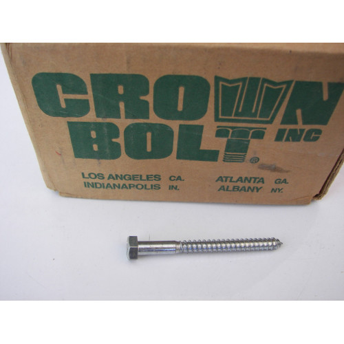 Crown Bolt 87450 01420 5/16-Inch by 3-1/2-Inch Zinc Plated Steel Hex Head Lag Screws, 100-Pack