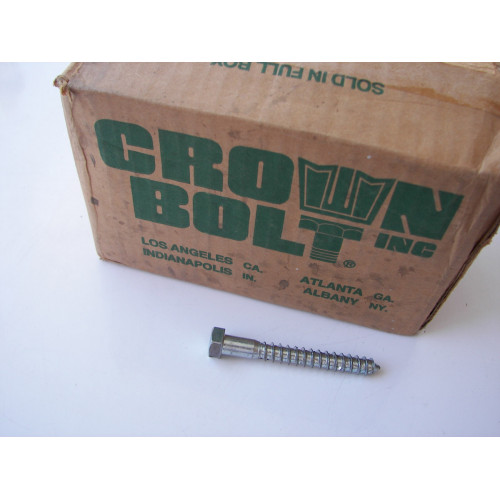Crown Bolt 87530 01530 3/8-Inch by 3-Inch Zinc Plated Steel Hex Head Lag Screws, 100-Pack