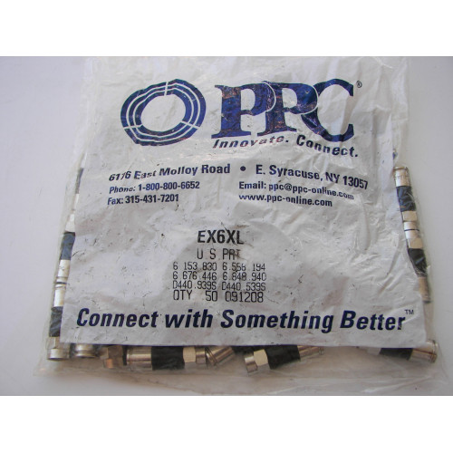 PPC EX6XL RG6 Compression F-Connector 50pcs Bag