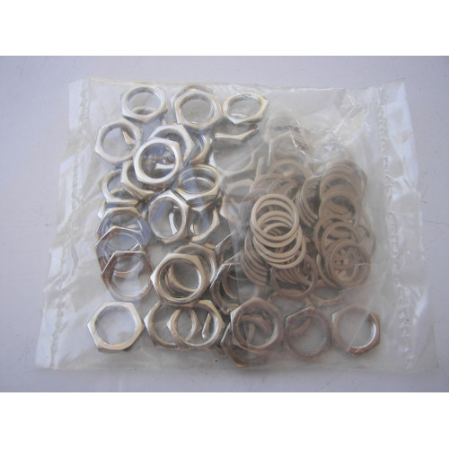 Generic coax 9mm Nut and Washer Bag of 100 Silver